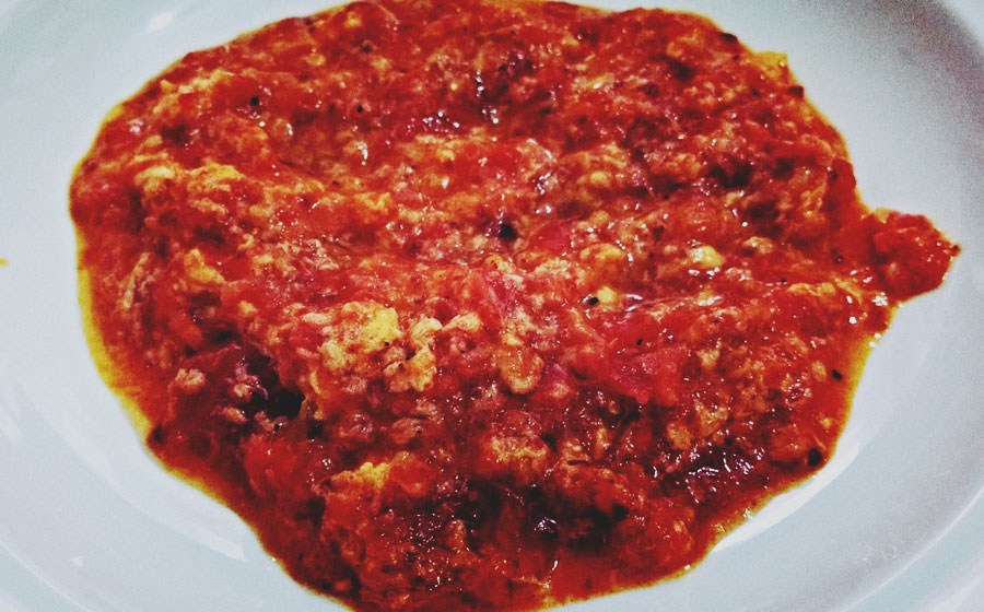 Menemen- Konserve with scrambled eggs.